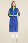 Shree Blue Cotton Solid Kurti