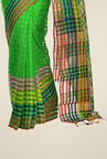 Bengal Handloom Green Cotton Silk Checked Saree