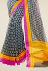 Triveni Grey Printed Supernet Saree