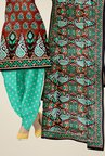 Triveni Brown & Turquoise Paisley Print Dress Material