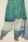 Triveni Green & Off-white Printed Dress Material