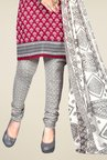 Triveni Magenta & Grey Printed Dress Material