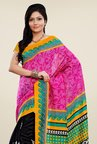 Triveni Black & Pink Printed Art Silk Saree