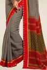 Triveni Black & Red Checks Bhagalpuri Khadi Silk Saree