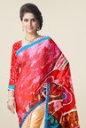 Triveni Orange & Red Printed Faux Georgette Saree