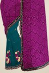 Triveni Teal & Purple Embroidered Faux Georgette Saree