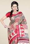 Triveni Beige & Red Printed Art Silk Saree
