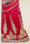 Triveni Red Embroidered Net Lehenga Saree