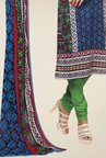 Triveni Blue & Green Printed Dress Material