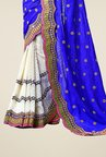 Triveni White & Blue Embroidered Faux Georgette Saree