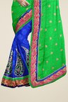Triveni Blue & Green Embroidered Faux Georgette Saree