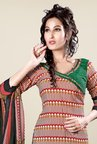 Triveni Maroon & Green Printed Dress Material