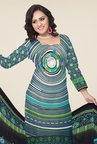 Triveni Grey & Green Printed Dress Material