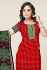 Triveni Red & Black Printed Dress Material
