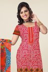 Triveni Magenta & Blue Printed Dress Material