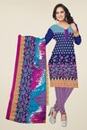 Triveni Navy & Purple Floral Print Dress Material