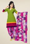 Triveni Green & Pink Printed Dress Material