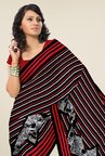 Triveni Black & Maroon Striped Faux Georgette Saree