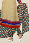 Triveni Beige & Teal Printed Dress Material