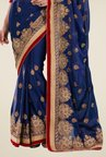 Triveni Navy Embroidered Satin & Chiffon Saree