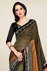 Triveni Olive Printed Art Silk Saree