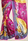 Triveni Magenta & Yellow Printed Faux Georgette Saree