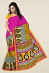 Triveni Magenta & Yellow Printed Art Silk Saree