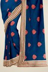 Triveni Dark Blue Embroidered Net Art Silk & Shimmer Saree
