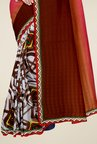 Triveni Off White & Brown Printed Faux Georgette Saree