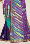Triveni Multicolor Embroidered Brasso Faux Georgette Saree