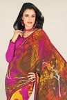 Triveni Yellow & Purple Printed Faux Georgette Saree