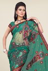 Triveni Maroon & Green Embroidered Faux Georgette Saree