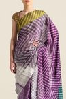 Satya Paul Purple Super Georgette Satin Saree