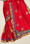 Triveni Red Embroidered Crape Saree