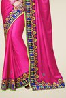 Triveni Magenta Embroidered Art Silk Saree
