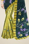 Triveni Yellow & Green Floral Print Faux Georgette Saree