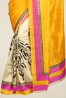 Triveni Yellow & Beige Printed Art Silk Saree