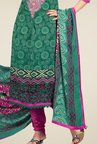 Triveni Green Embroidered Art Silk Dress Material