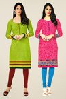 Salwar Studio Green & Pink Kurtis (Pack Of 2)