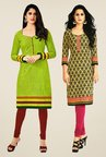 Salwar Studio Green & Beige Kurtis (Pack Of 2)