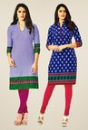 Salwar Studio Blue Kurtis (Pack Of 2)