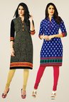 Salwar Studio Black & Blue Kurtis (Pack Of 2)
