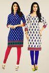 Salwar Studio Blue & Cream Kurtis (Pack Of 2)