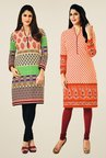 Salwar Studio Multicolor & Orange Kurtis (Pack Of 2)