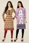 Salwar Studio Beige & Purple Kurtis (Pack Of 2)