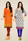 Salwar Studio Orange & Cream Kurtis (Pack Of 2)