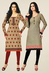 Salwar Studio Beige & Grey Kurtis (Pack Of 2)