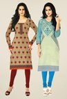 Salwar Studio Beige & Blue Kurtis (Pack Of 2)
