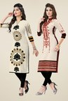 Salwar Studio Cream Kurtis (Pack Of 2)