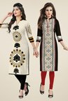 Salwar Studio Cream & Black Kurtis (Pack Of 2)